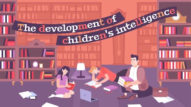Illustrazione piatta genitoriale con il padre impegnato nello sviluppo intellettuale dei suoi figli