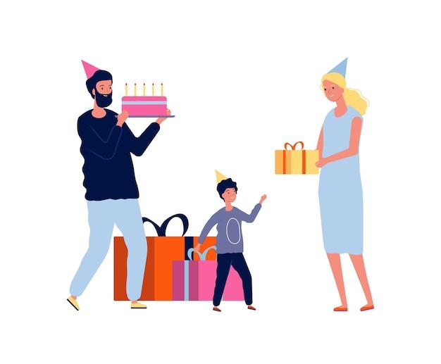 Genitori e bambino. mamma papà augura buon compleanno al figlio. cartoon illustrazione piatta