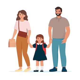 I genitori portano il loro bambino a scuola è ora di andare a scuola flat vector illustration