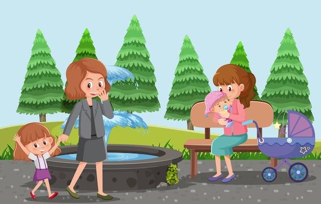 I genitori portano i loro bambini e il passeggino al parco in stile cartone animato