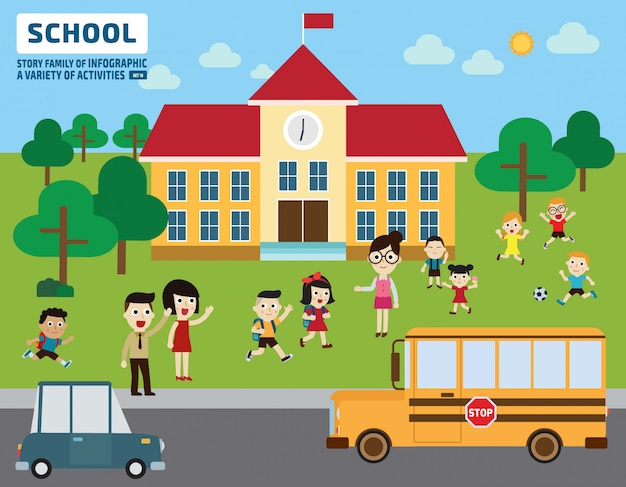 I genitori portano i loro bambini a scuola. concetto di educazione.