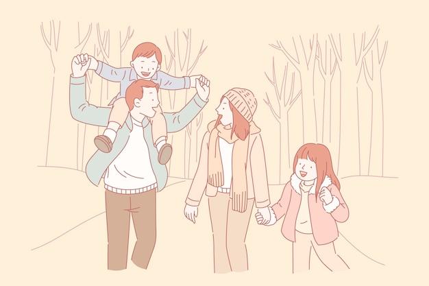 Genitori e figli che fanno una passeggiata in stile linea