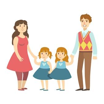 Genitori e due gemelle figlie, illustrazione da serie di famiglie amorevoli felici