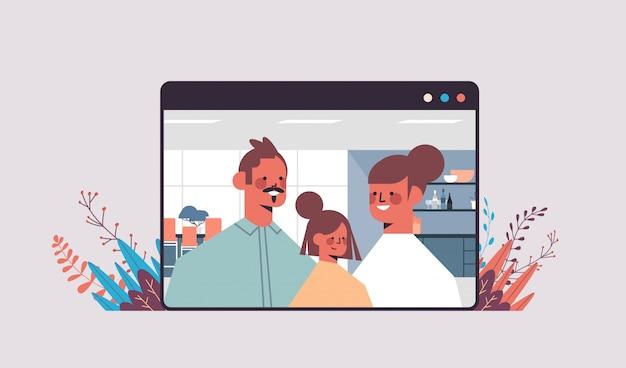 Genitori con il bambino durante la videochiamata famiglia chat online concetto di comunicazione online uomo donna e figlia nell'illustrazione orizzontale ritratto finestra del browser web