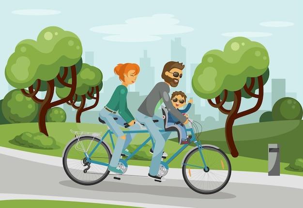 Genitori con il bambino che guida tandem all'aperto nel parco della città concetto di famiglia felice