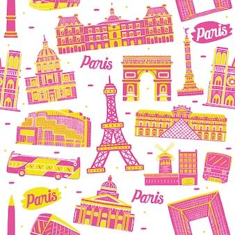 Modello senza cuciture della città di parigi con elementi di punti di riferimento