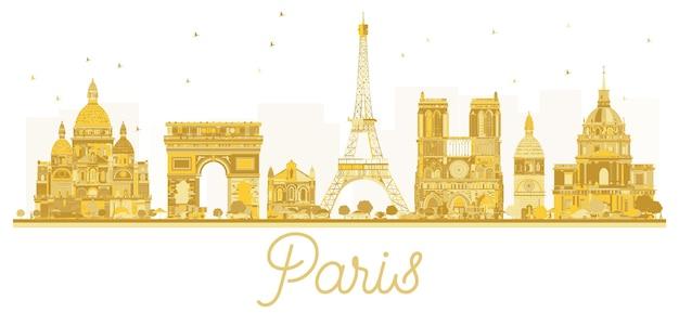 Siluetta dorata dell'orizzonte della città di parigi. illustrazione vettoriale. concetto di viaggio d'affari. parigi isolata su sfondo bianco.