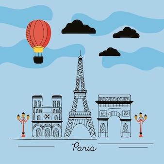 Scena di strada di campagna di parigi
