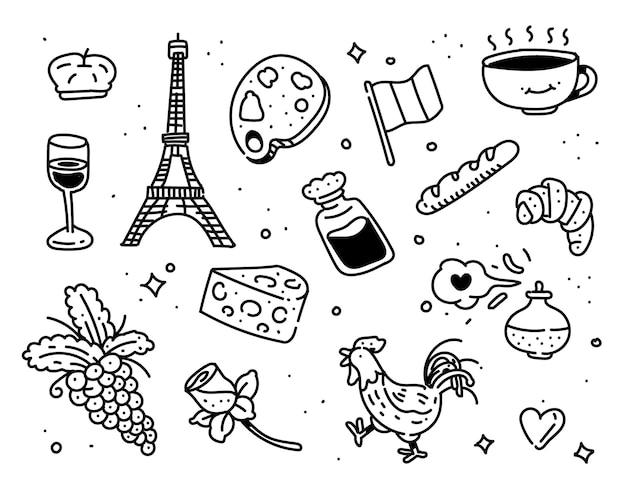 Stile doodle di parigi. stile di disegno di parigi