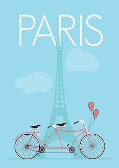 Parigi - poster retrò torre eiffel