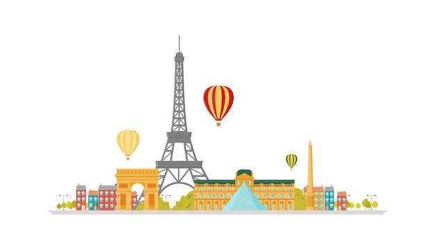 Illustrazione alla moda piana di vettore dell'orizzonte della città di parigi (francia).
