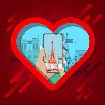 Infografica di parigi smartphone nel telaio del cuore