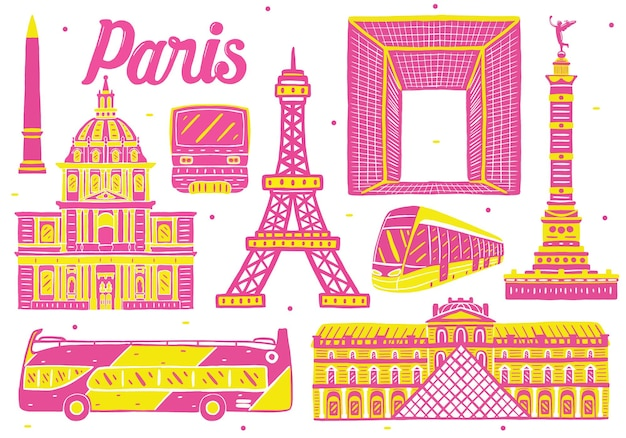 Punto di riferimento di parigi in stile design piatto