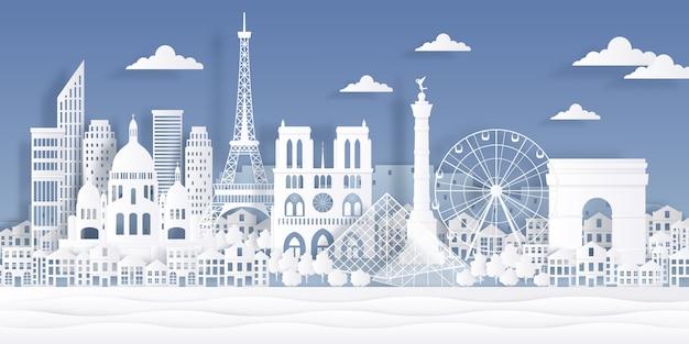 Punto di riferimento della carta di parigi. monumento francese della torre eiffel, simbolo della città di viaggio, disegno di paesaggio urbano tagliato della carta.