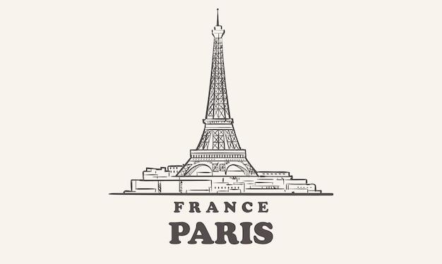 Schizzo disegnato di parigi skyline francia