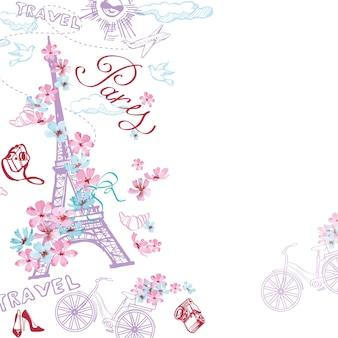 Modello di simboli di parigi. viaggio romantico a parigi. illustrazioni vettoriali.