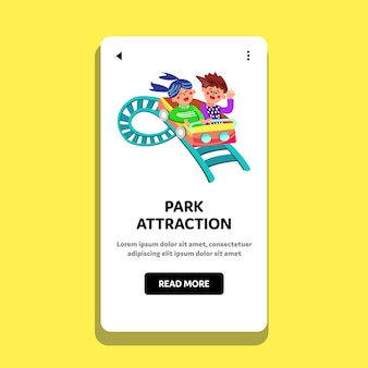 Park attraction children ride rollercoaster