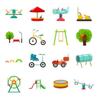 Insieme dell'icona di vettore del fumetto del parco. illustrazione vettoriale del parco divertimenti.