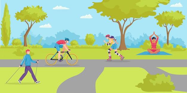Parcheggi lo sport all'aperto, gente in buona salute del fumetto nell'illustrazione della città. stile di vita estivo in natura, attività uomo donna. tempo libero attivo in bicicletta, esercizio e ricreazione di carattere felice