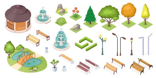 Alberi del parco e insieme di elementi del paesaggio, icone isometriche isolate. costruttore paesaggistico di parchi e giardini, alberi isometrici, stagni e panchine, fontane, piante e fiori, erba e siepi