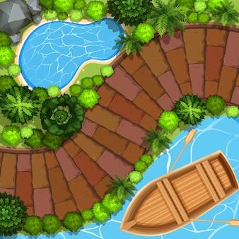 Vista del parco con barca sull'acqua