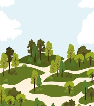 Parco con molti alberi e illustrazione del cielo blu