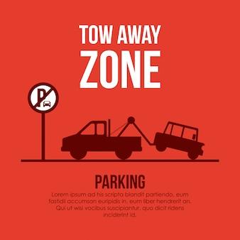 Progettazione di parcheggio sopra l'illustrazione arancio