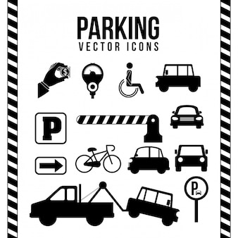 Progettazione di parcheggio sopra l'illustrazione bianca