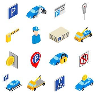 Icone stabilite di parcheggio isolate su fondo bianco