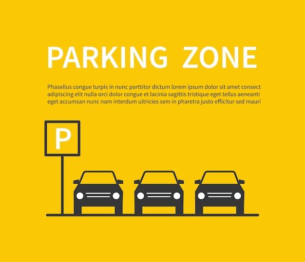 Segno di zona di parcheggio con icone di sagoma nera auto