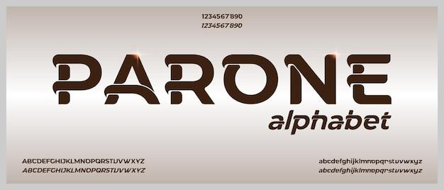 Parone, alfabeto creativo moderno con modello in stile urbano