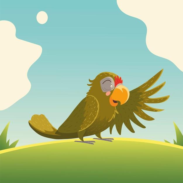 Animale del fumetto tropicale dell'uccello del pappagallo nell'illustrazione dell'erba