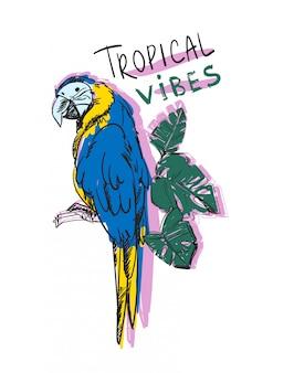 Uccello pappagallo con foglie tropicali e testo scritto a mano vibrazioni tropicali stampa estate illustrazione