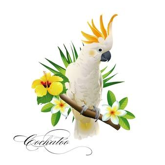 Pappagallo cacatua sui rami tropicali con foglie e fiori su sfondo bianco