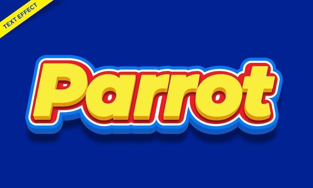 Disegno di effetto testo colorato pappagallo