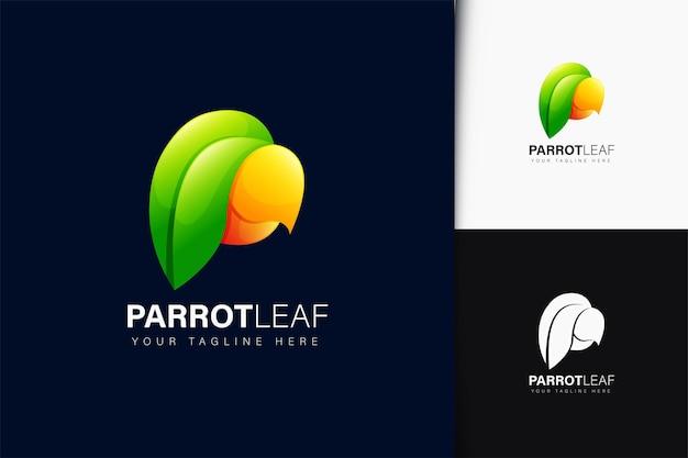 Design del logo con foglia di pappagallo con sfumatura