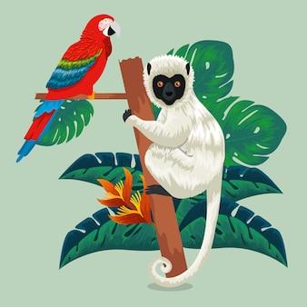 Animali pappagallo e lemure con foglie esotiche