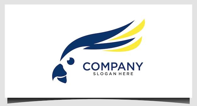 Vettore del modello di progettazione del logo del pappagallo