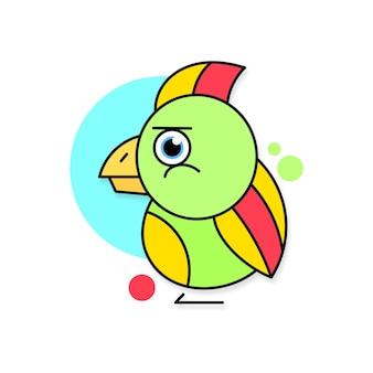 Illustrazione vettoriale del logo del pappagallo su sfondo bianco per il tuo design