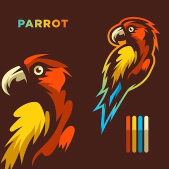 Illustrazione del logo della mascotte del pappagallo