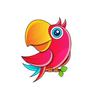 Illustrazione di riserva del pappagallo su una priorità bassa bianca. decorazione, logo.