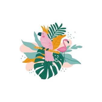 Pappagallo con foglie tropicali, monstera, foglie di palma, ibisco
