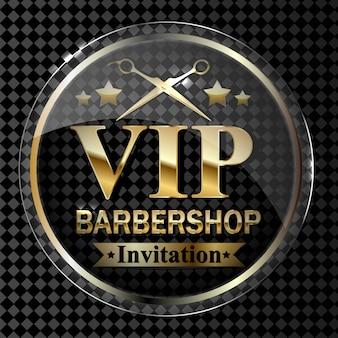 Parte dell'elemento di design del negozio di barbiere su uno sfondo trasparente in oro.