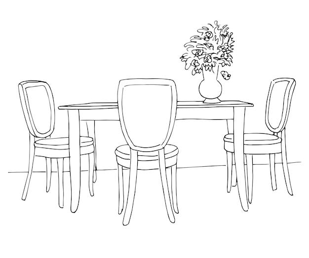 Parte della sala da pranzo. tavolo e sedie. sul tavolo vaso di fiori. schizzo disegnato a mano. illustrazione di vettore.