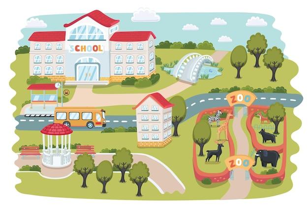 Mappe della città in parte. zoo con animali, casa, alberi, gazebo, parco, stagno, ponte, ecc