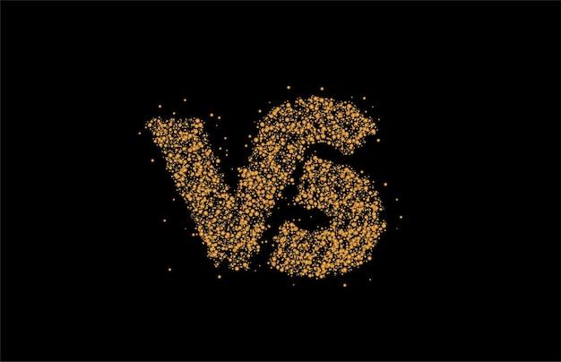 Particle design vs società collegata lettera logo, illustrazione di vettore di arte di linea.