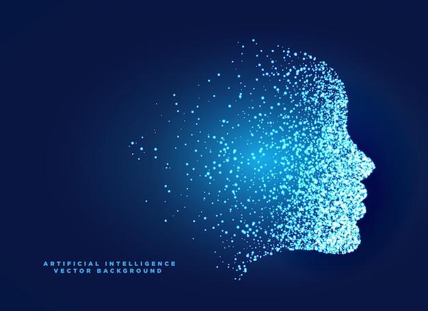 Design di concetto di faccia di particelle