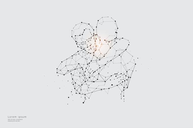 Linea di particelle d'arte. concetto di relazione.