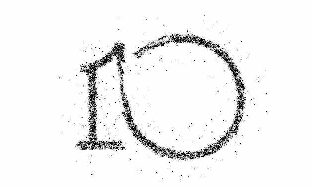 Particella numero 10 sul disegno vettoriale di vettore di testo cerchio.