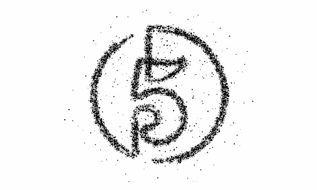 Particella numero cinque sul disegno vettoriale del testo del cerchio.